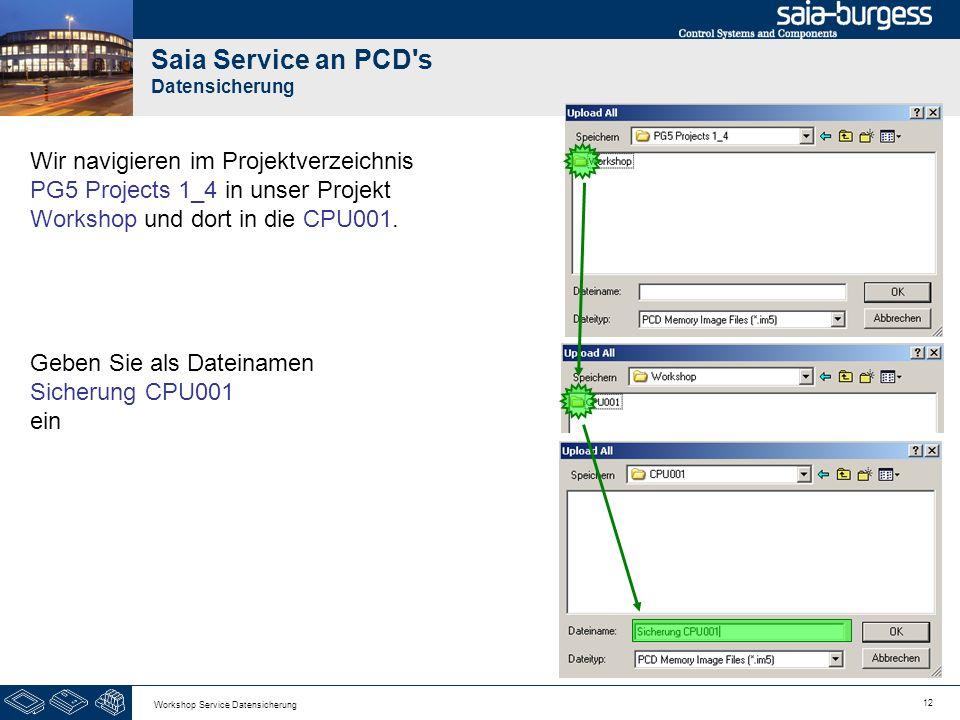 12 Workshop Service Datensicherung Saia Service an PCD's Datensicherung Wir navigieren im Projektverzeichnis PG5 Projects 1_4 in unser Projekt Worksho