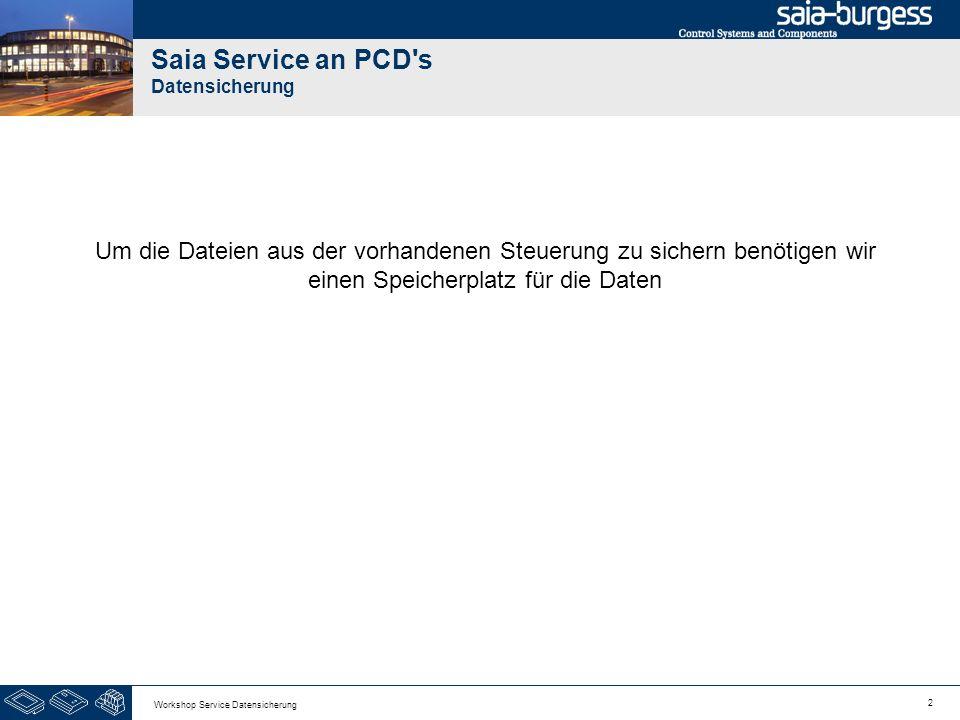 2 Workshop Service Datensicherung Saia Service an PCD's Datensicherung Um die Dateien aus der vorhandenen Steuerung zu sichern benötigen wir einen Spe