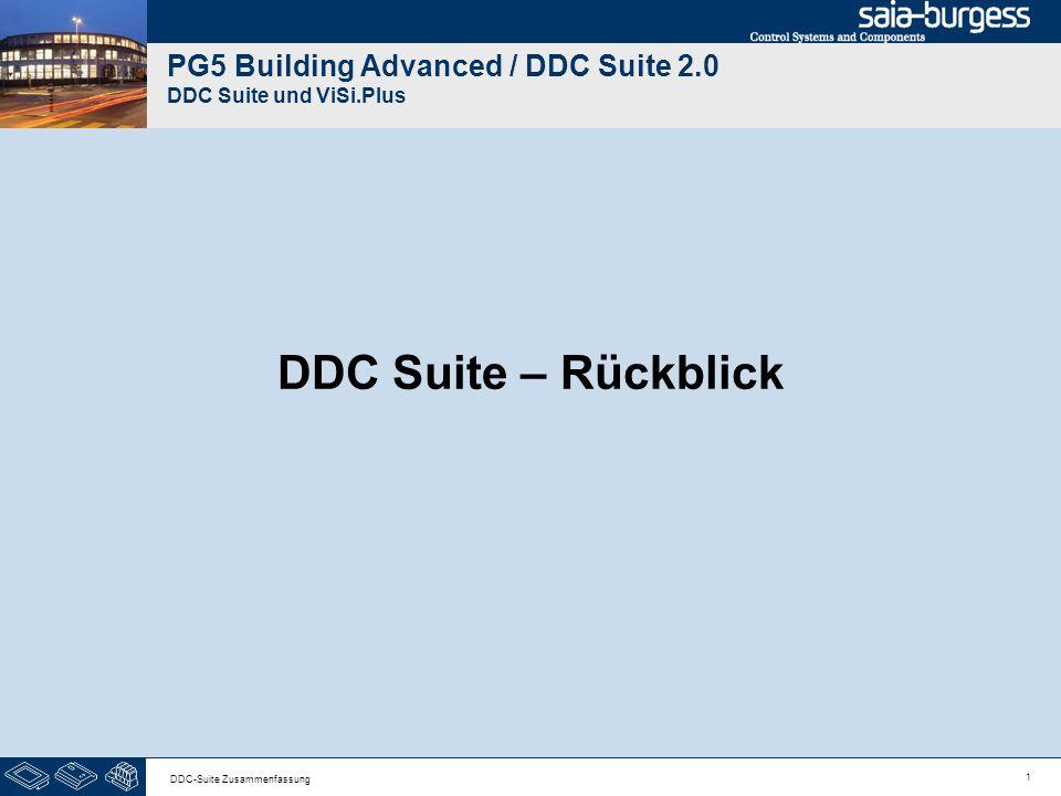 1 DDC-Suite Zusammenfassung PG5 Building Advanced / DDC Suite 2.0 DDC Suite und ViSi.Plus DDC Suite – Rückblick