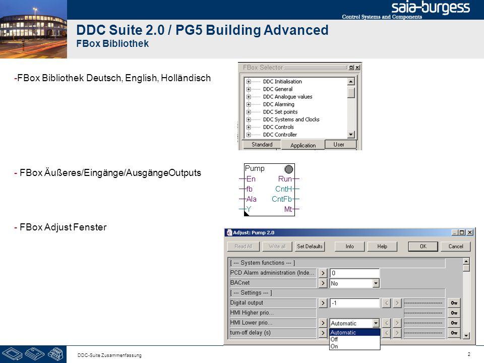 2 DDC-Suite Zusammenfassung DDC Suite 2.0 / PG5 Building Advanced FBox Bibliothek -FBox Bibliothek Deutsch, English, Holländisch - FBox Äußeres/Eingänge/AusgängeOutputs - FBox Adjust Fenster