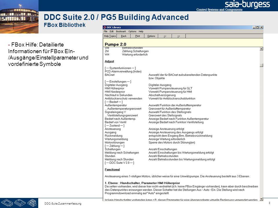 3 DDC-Suite Zusammenfassung DDC Suite 2.0 / PG5 Building Advanced FBox Bibliothek - FBox Hilfe: Detailierte Informationen für FBox EIn- /Ausgänge/Einstellparameter und vordefinierte Symbole