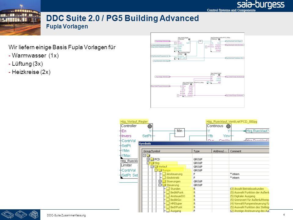 4 DDC-Suite Zusammenfassung DDC Suite 2.0 / PG5 Building Advanced Fupla Vorlagen Wir liefern einige Basis Fupla Vorlagen für - Warmwasser (1x) - Lüftu