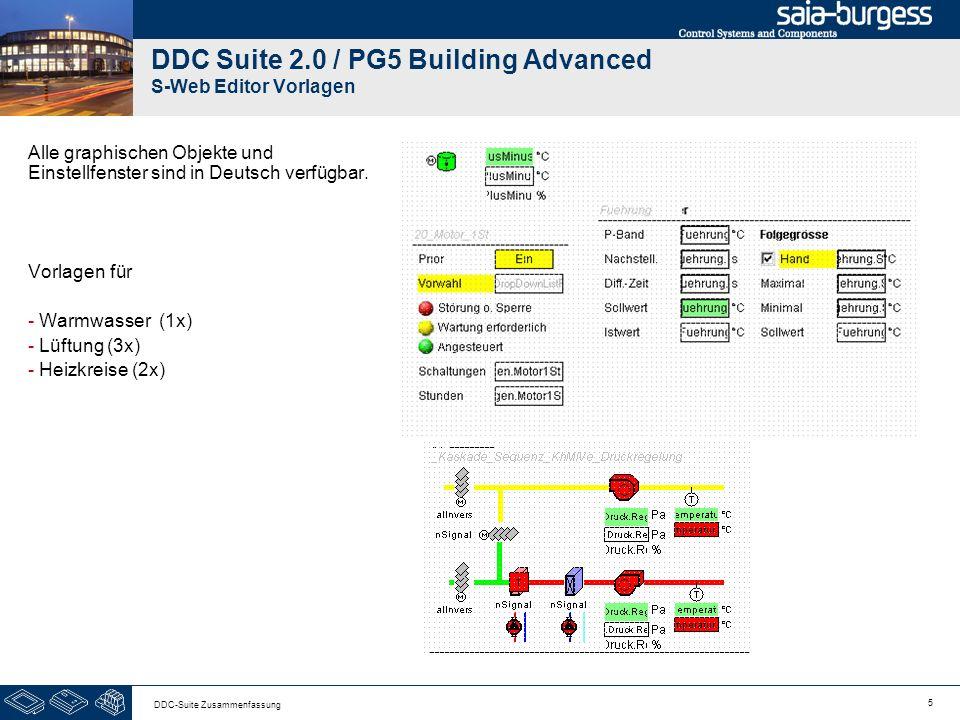 5 DDC-Suite Zusammenfassung DDC Suite 2.0 / PG5 Building Advanced S-Web Editor Vorlagen Alle graphischen Objekte und Einstellfenster sind in Deutsch v