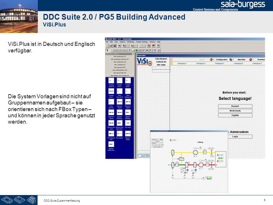 6 DDC-Suite Zusammenfassung DDC Suite 2.0 / PG5 Building Advanced ViSi.Plus ViSi.Plus ist in Deutsch und Englisch verfügbar. Die System Vorlagen sind