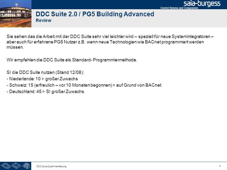 8 DDC-Suite Zusammenfassung DDC Suite 2.0 / PG5 Building Advanced Review Sie sehen das die Arbeit mit der DDC Suite sehr viel leichter wird – speziell für neue Systemintegratoren – aber auch für erfahrene PG5 Nutzer z.B.