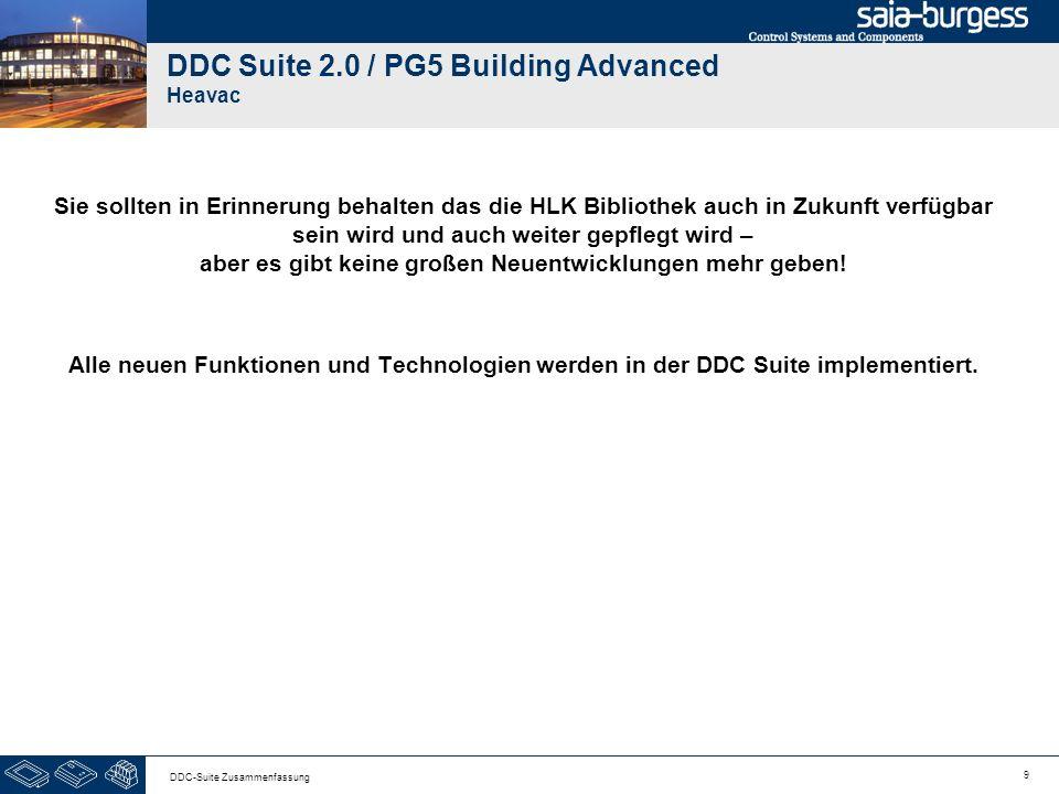 9 DDC-Suite Zusammenfassung DDC Suite 2.0 / PG5 Building Advanced Heavac Sie sollten in Erinnerung behalten das die HLK Bibliothek auch in Zukunft verfügbar sein wird und auch weiter gepflegt wird – aber es gibt keine großen Neuentwicklungen mehr geben.