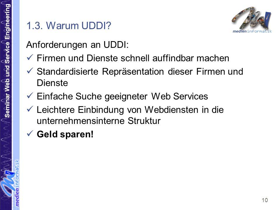 Seminar Web und Service Engineering 10 1.3. Warum UDDI? Anforderungen an UDDI: Firmen und Dienste schnell auffindbar machen Standardisierte Repräsenta