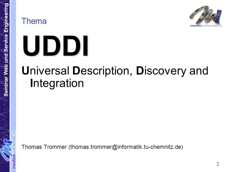 Seminar Web und Service Engineering 3 Übersicht 1.Einleitung 1.Was ist UDDI.