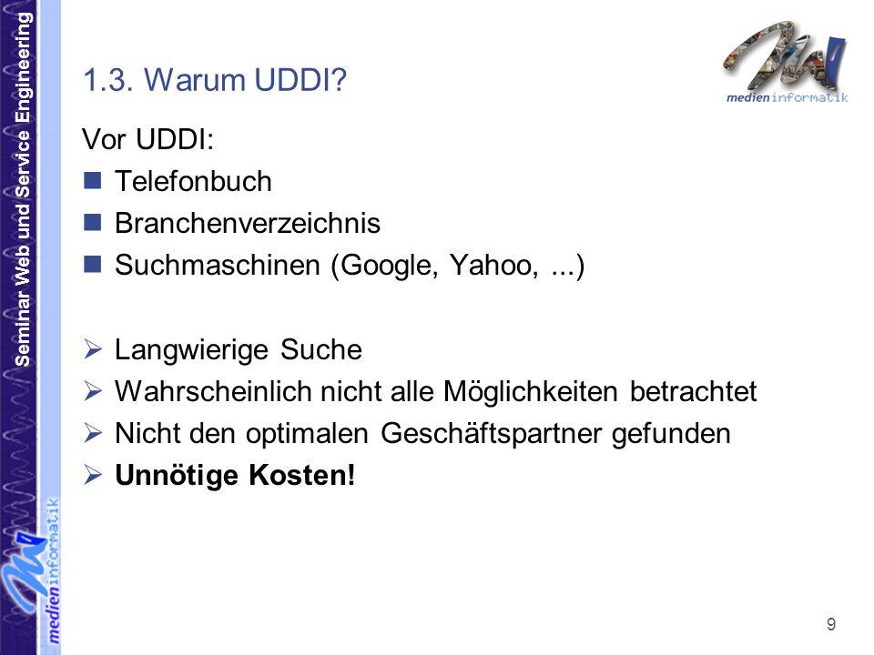 Seminar Web und Service Engineering 9 1.3. Warum UDDI? Vor UDDI: Telefonbuch Branchenverzeichnis Suchmaschinen (Google, Yahoo,...) Langwierige Suche W