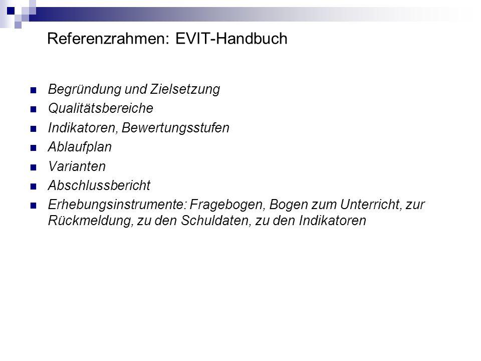 EVIT in SH - Zielsetzung EVIT dient in SH dazu die Leistungsfähigkeit der Schulen zu überprüfen Rechenschaft abzulegen über die Verwendung der Mittel