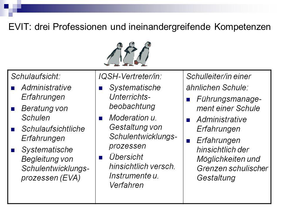 Referenzrahmen: EVIT-Handbuch Begründung und Zielsetzung Qualitätsbereiche Indikatoren, Bewertungsstufen Ablaufplan Varianten Abschlussbericht Erhebun