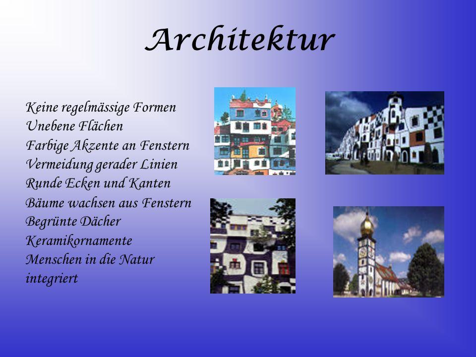 Architektur Keine regelmässige Formen Unebene Flächen Farbige Akzente an Fenstern Vermeidung gerader Linien Runde Ecken und Kanten Bäume wachsen aus F