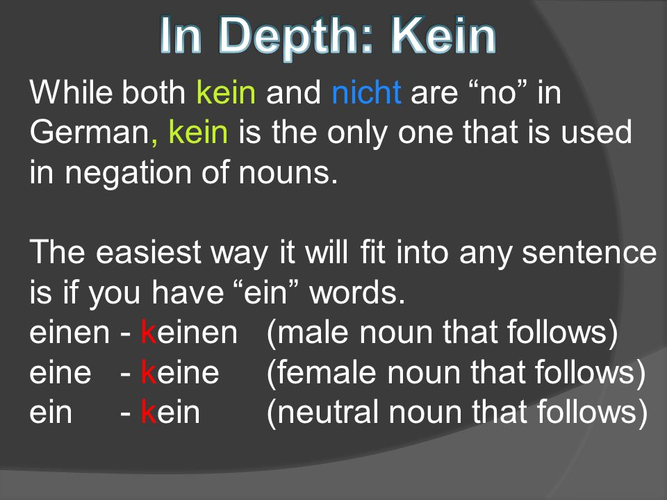 While both kein and nicht are no in German, kein is the only one that is used in negation of nouns.