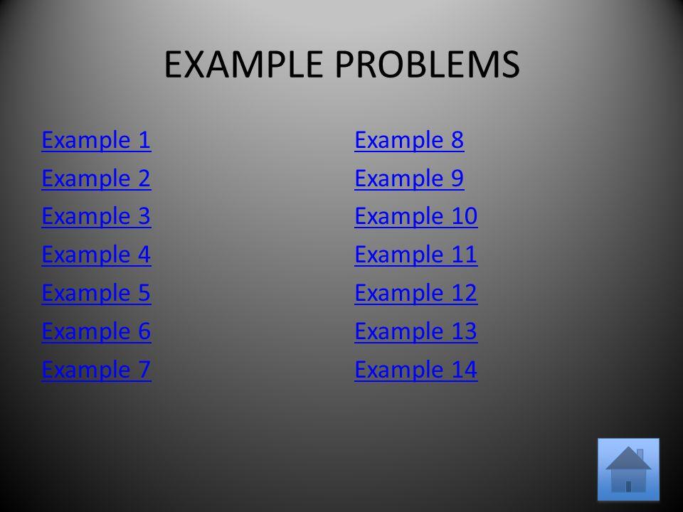 EXAMPLE PROBLEMS Example 1 Example 2 Example 3 Example 4 Example 5 Example 6 Example 7 Example 8 Example 9 Example 10 Example 11 Example 12 Example 13