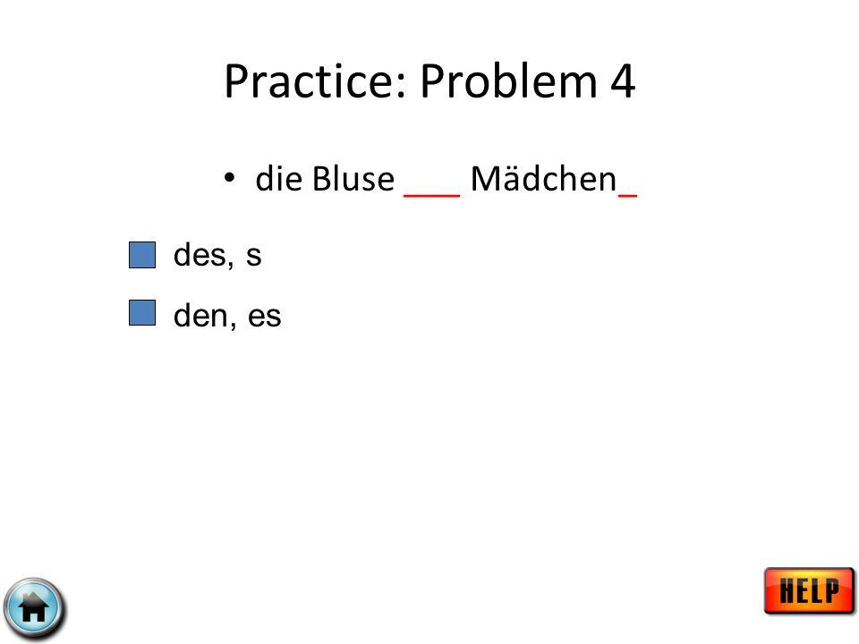 Practice: Problem 4 die Bluse ___ Mädchen_ des, s den, es