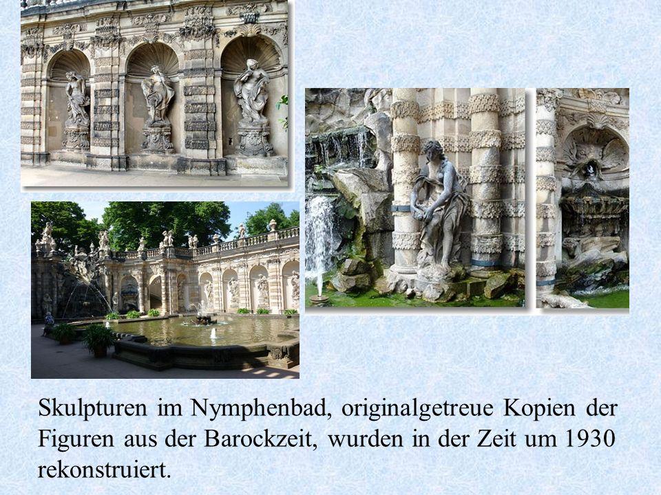 Skulpturen im Nymphenbad, originalgetreue Kopien der Figuren aus der Barockzeit, wurden in der Zeit um 1930 rekonstruiert.