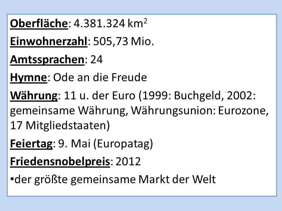 Oberfläche: 4.381.324 km 2 Einwohnerzahl: 505,73 Mio.