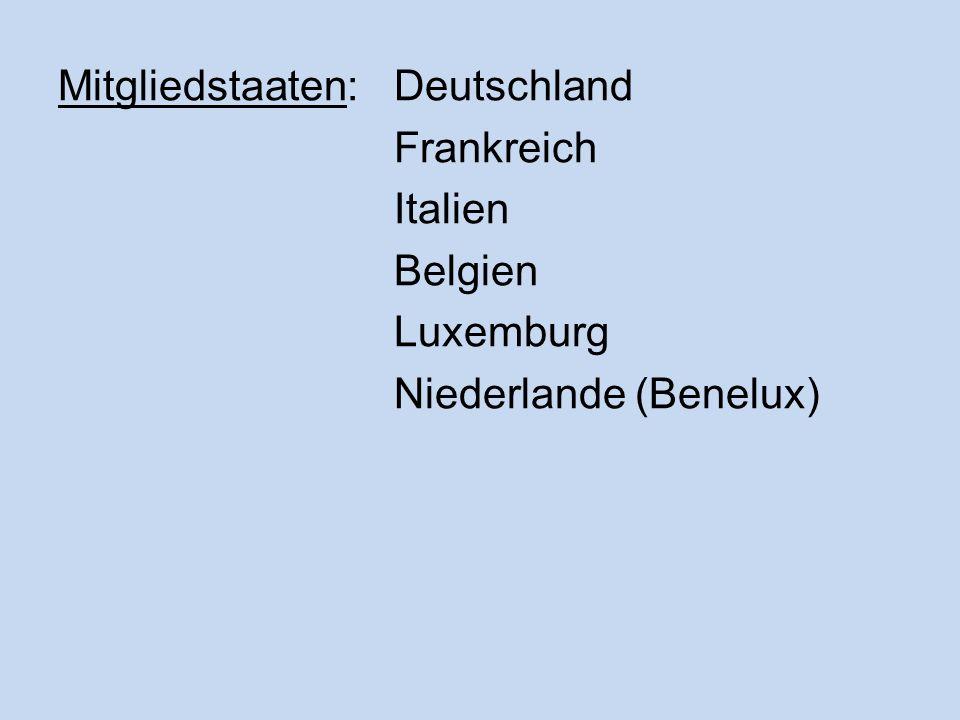 Mitgliedstaaten: Deutschland Frankreich Italien Belgien Luxemburg Niederlande (Benelux)