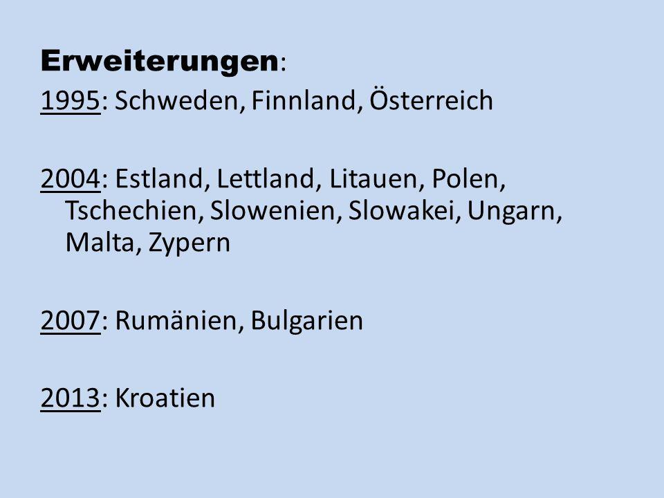 Erweiterungen : 1995: Schweden, Finnland, Österreich 2004: Estland, Lettland, Litauen, Polen, Tschechien, Slowenien, Slowakei, Ungarn, Malta, Zypern 2007: Rumänien, Bulgarien 2013: Kroatien
