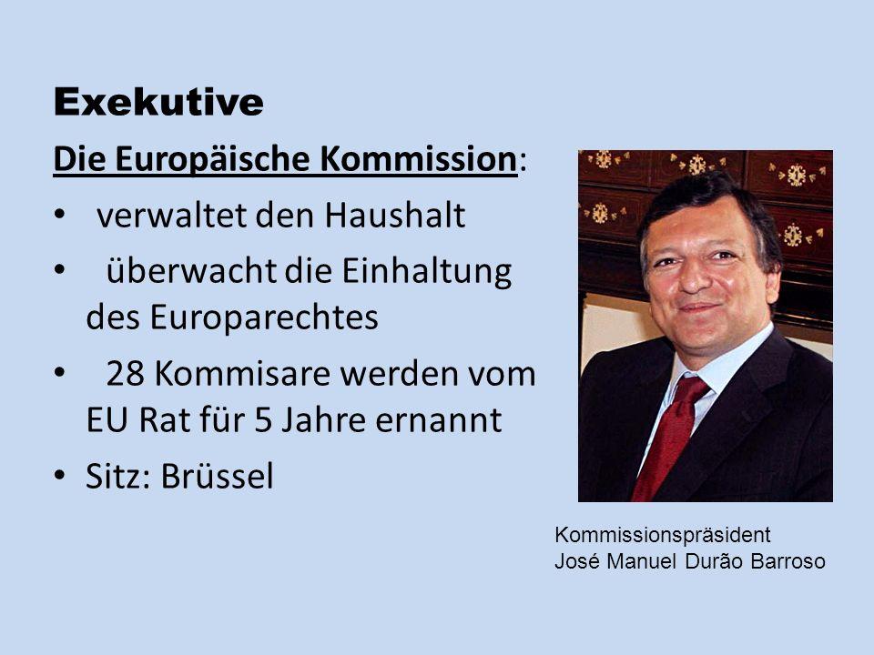 Exekutive Die Europäische Kommission: verwaltet den Haushalt überwacht die Einhaltung des Europarechtes 28 Kommisare werden vom EU Rat für 5 Jahre ernannt Sitz: Brüssel Kommissionspräsident José Manuel Durão Barroso