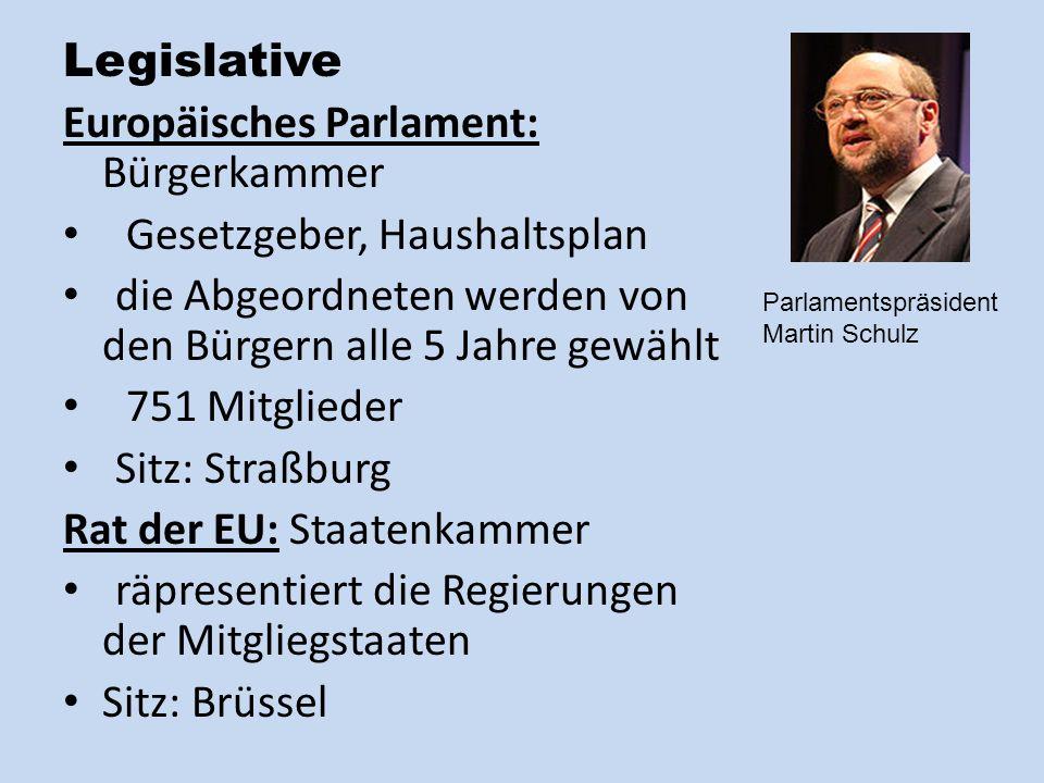 Legislative Europäisches Parlament: Bürgerkammer Gesetzgeber, Haushaltsplan die Abgeordneten werden von den Bürgern alle 5 Jahre gewählt 751 Mitglieder Sitz: Straßburg Rat der EU: Staatenkammer räpresentiert die Regierungen der Mitgliegstaaten Sitz: Brüssel Parlamentspräsident Martin Schulz