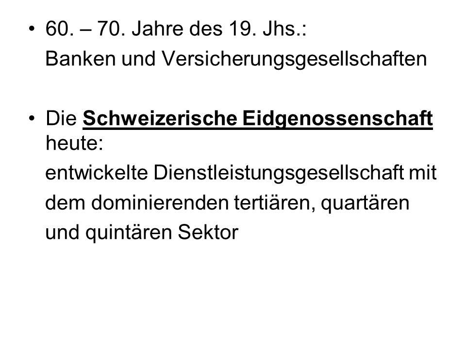 60. – 70. Jahre des 19. Jhs.: Banken und Versicherungsgesellschaften Die Schweizerische Eidgenossenschaft heute: entwickelte Dienstleistungsgesellscha