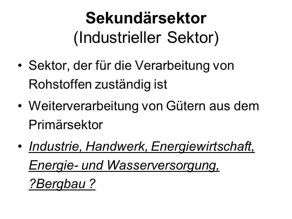 Sekundärsektor (Industrieller Sektor) Sektor, der für die Verarbeitung von Rohstoffen zuständig ist Weiterverarbeitung von Gütern aus dem Primärsektor