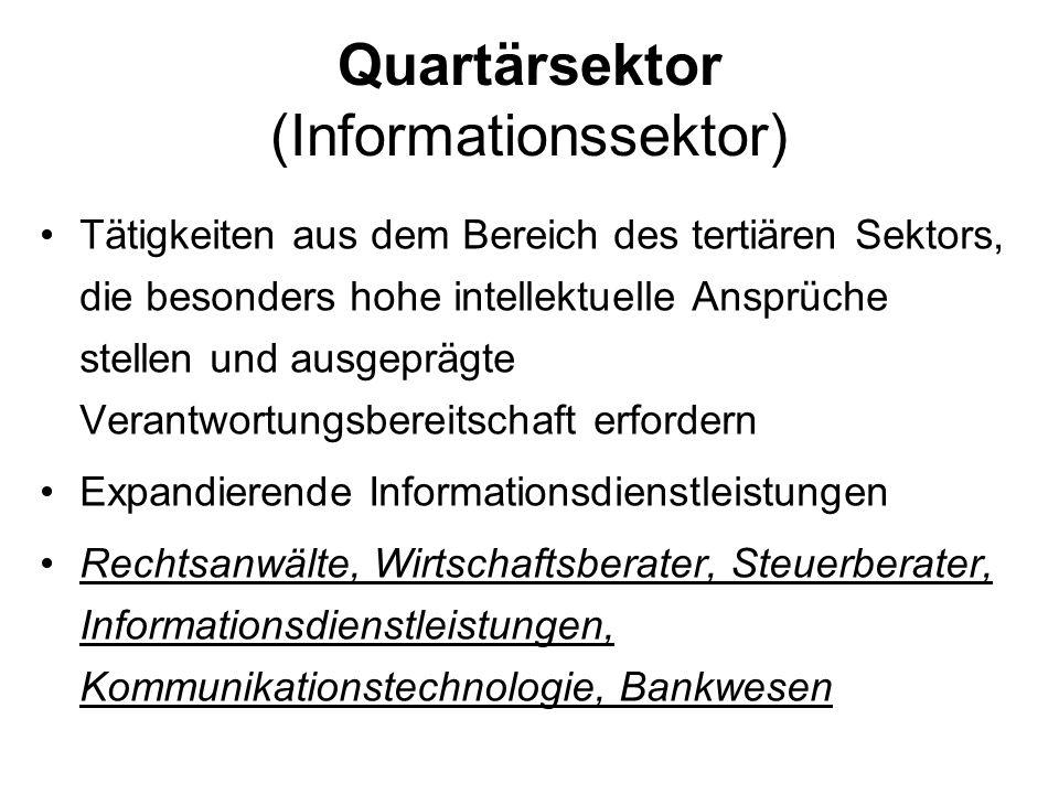 Quartärsektor (Informationssektor) Tätigkeiten aus dem Bereich des tertiären Sektors, die besonders hohe intellektuelle Ansprüche stellen und ausgeprä