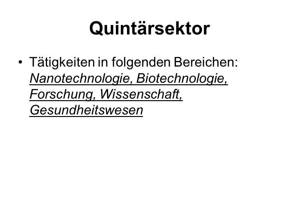 Quintärsektor Tätigkeiten in folgenden Bereichen: Nanotechnologie, Biotechnologie, Forschung, Wissenschaft, Gesundheitswesen