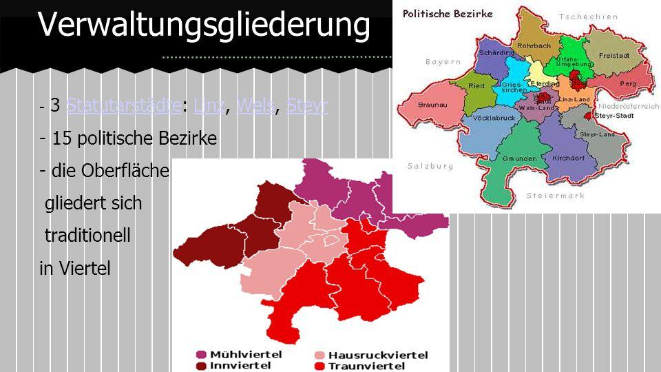 - 3 Statutarstädte: Linz, Wels, SteyrStatutarstädteLinzWelsSteyr - 15 politische Bezirke - die Oberfläche gliedert sich traditionell in Viertel Verwal