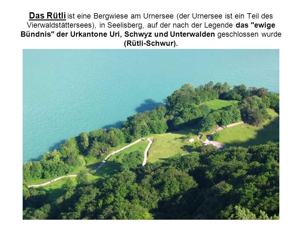 Das Rütli ist eine Bergwiese am Urnersee (der Urnersee ist ein Teil des Vierwaldstättersees), in Seelisberg, auf der nach der Legende das