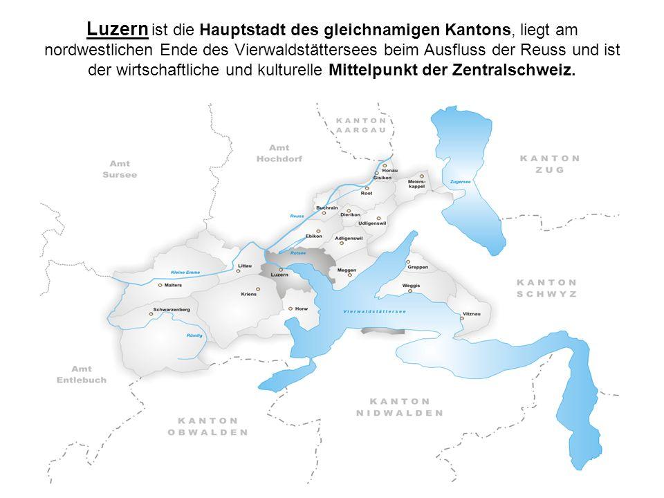 Luzern ist die Hauptstadt des gleichnamigen Kantons, liegt am nordwestlichen Ende des Vierwaldstättersees beim Ausfluss der Reuss und ist der wirtscha