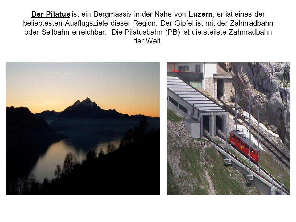 Der Pilatus ist ein Bergmassiv in der Nähe von Luzern, er ist eines der beliebtesten Ausflugsziele dieser Region. Der Gipfel ist mit der Zahnradbahn o