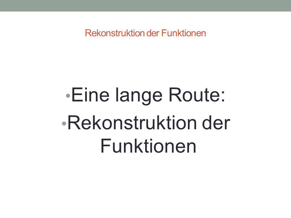 Rekonstruktion der Funktionen Eine lange Route: Rekonstruktion der Funktionen