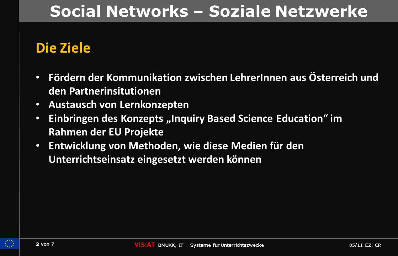 3 von 7 ViS:AT BMUKK, IT – Systeme für Unterrichtszwecke 05/11 EZ, CR Social Networks – Soziale Netzwerke Zielgruppen: international und projektübergriefend