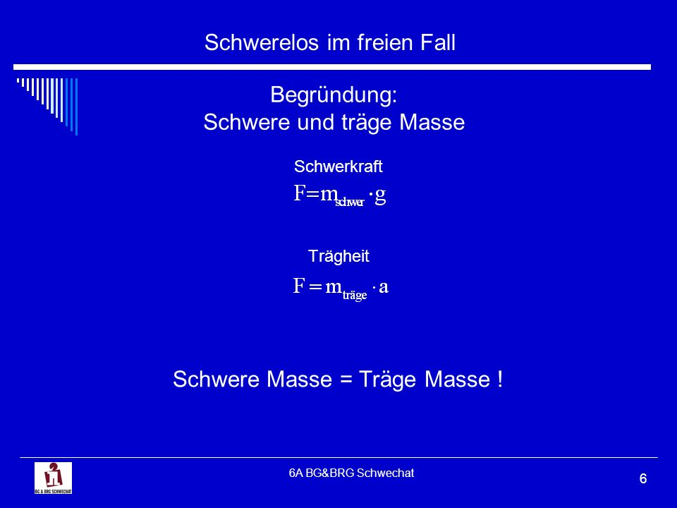 Schwerelos im freien Fall 6A BG&BRG Schwechat 6 Begründung: Schwere und träge Masse Schwerkraft Trägheit Schwere Masse = Träge Masse !