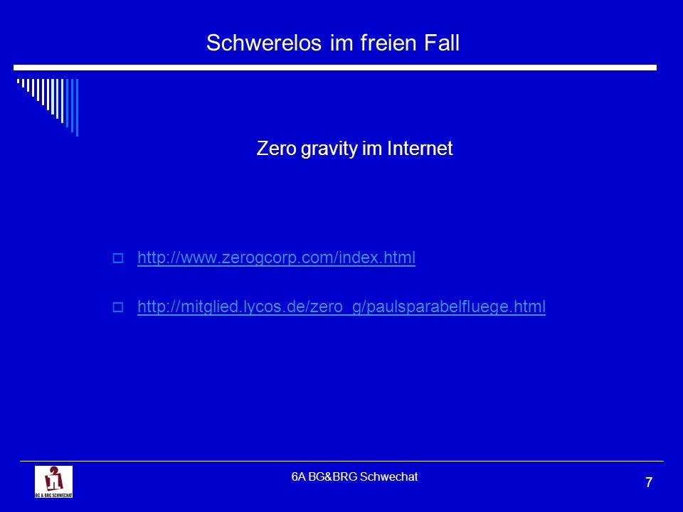 Schwerelos im freien Fall 6A BG&BRG Schwechat 7 Zero gravity im Internet http://www.zerogcorp.com/index.html http://mitglied.lycos.de/zero_g/paulspara