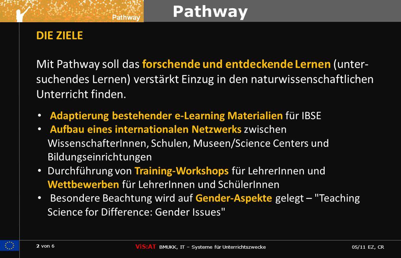 2 von 6 ViS:AT BMUKK, IT – Systeme für Unterrichtszwecke 05/11 EZ, CR Pathway DIE ZIELE Mit Pathway soll das forschende und entdeckende Lernen (unter- suchendes Lernen) verstärkt Einzug in den naturwissenschaftlichen Unterricht finden.
