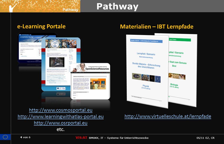 4 von 6 ViS:AT BMUKK, IT – Systeme für Unterrichtszwecke 05/11 EZ, CR Pathway http://www.cosmosportal.eu http://www.learningwithatlas-portal.eu http://www.osrportal.eu etc.