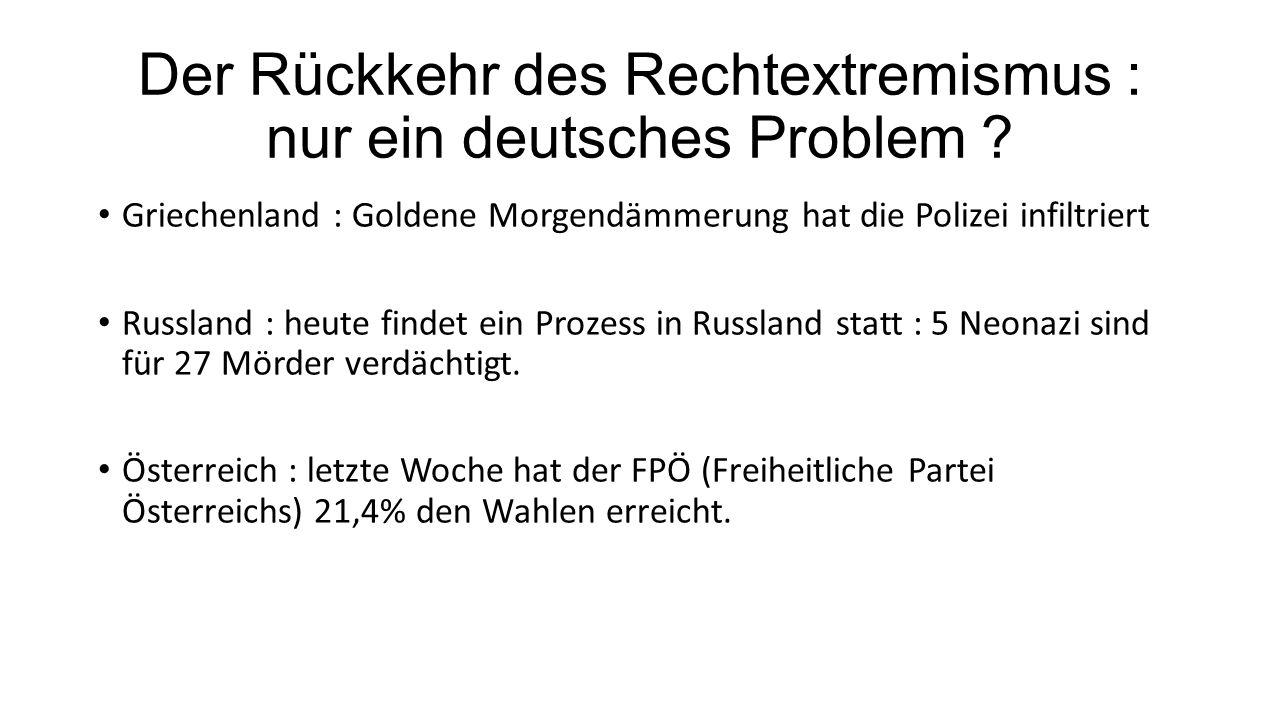 Der Rückkehr des Rechtextremismus : nur ein deutsches Problem ? Griechenland : Goldene Morgendämmerung hat die Polizei infiltriert Russland : heute fi
