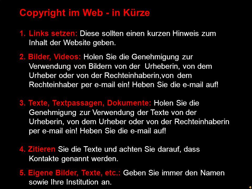 Copyright im Web - in Kürze 1.Links setzen: Diese sollten einen kurzen Hinweis zum Inhalt der Website geben.
