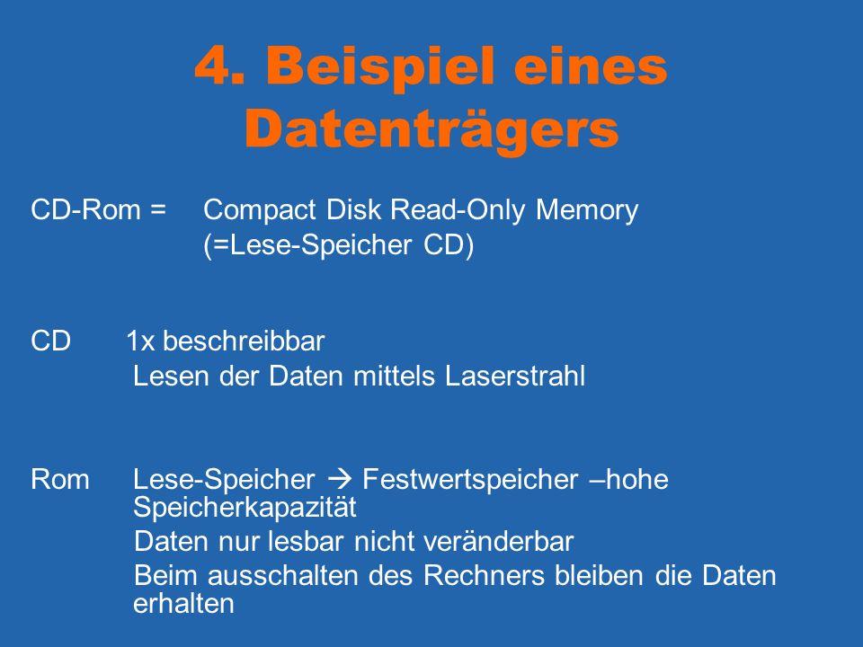 4. Beispiel eines Datenträgers CD-Rom =Compact Disk Read-Only Memory (=Lese-Speicher CD) CD 1x beschreibbar Lesen der Daten mittels Laserstrahl Rom Le