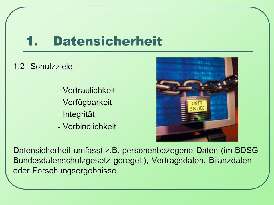 1.Datensicherheit 1.3 Maßnahmen zur Datensicherheit z.B.- Sicherung der Daten auf Speichermedien - Zugriffskontrollen - Aufstellen fehlertoleranter Systeme - Maßnahmen der Datensicherung und Verschlüsselung z.B.