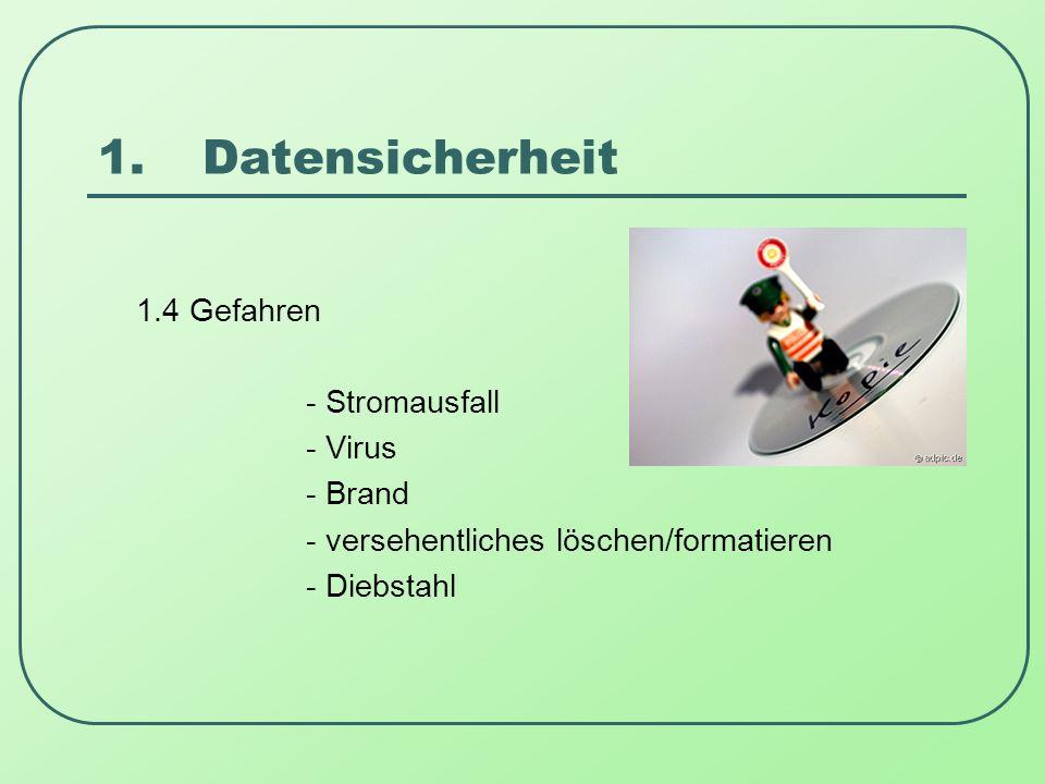 1.Datensicherheit 1.4 Gefahren - Stromausfall - Virus - Brand - versehentliches löschen/formatieren - Diebstahl