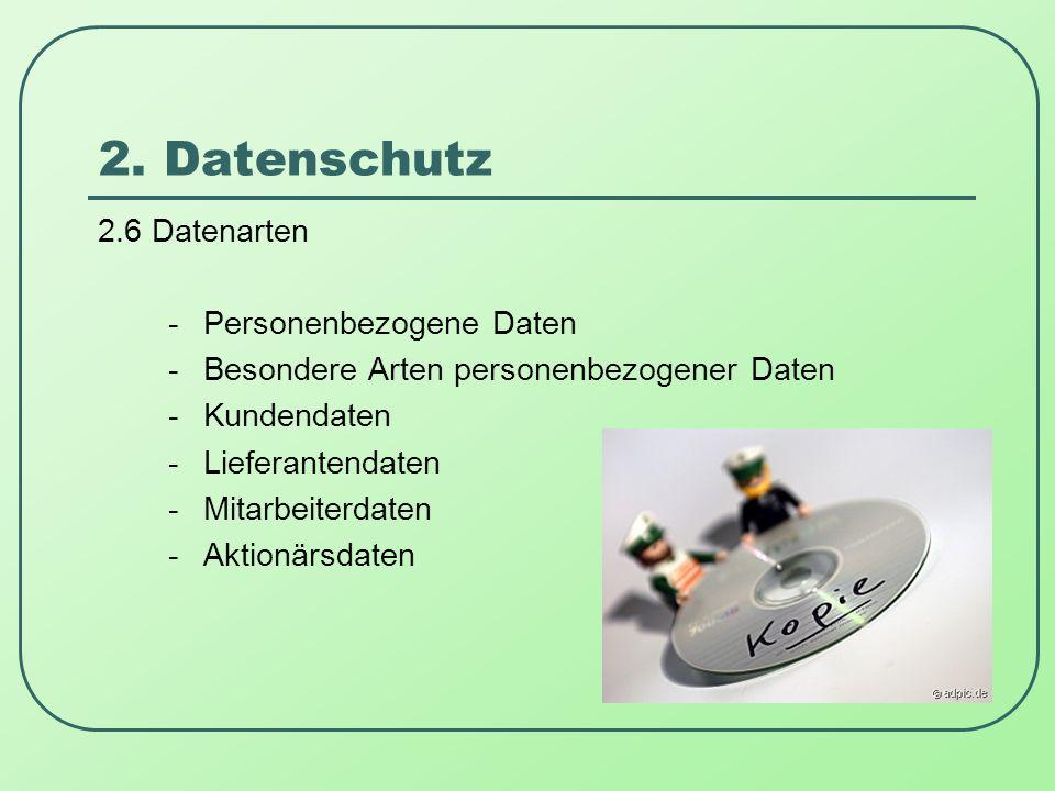2. Datenschutz 2.6 Datenarten -Personenbezogene Daten -Besondere Arten personenbezogener Daten -Kundendaten -Lieferantendaten -Mitarbeiterdaten -Aktio