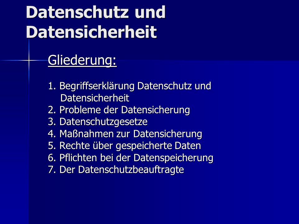 Datenschutz und Datensicherheit Gliederung: 1.