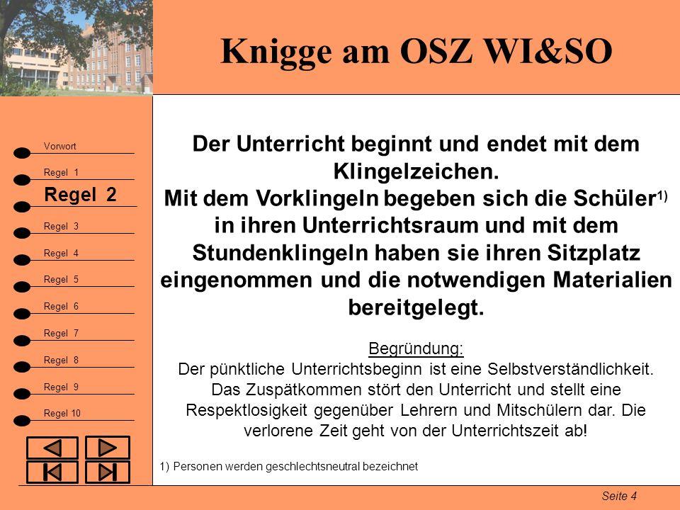 Knigge am OSZ WI&SO Seite 4 Vorwort Regel 1 Regel 2 Fazit Regel 3 Regel 9 Regel 4 Regel 5 Regel 6 Regel 7 Regel 8 Regel 10 Der Unterricht beginnt und