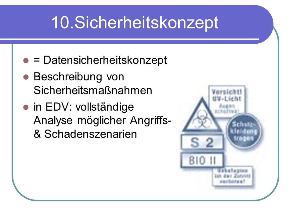 10.Sicherheitskonzept = Datensicherheitskonzept Beschreibung von Sicherheitsmaßnahmen in EDV: vollständige Analyse möglicher Angriffs- & Schadenszenarien