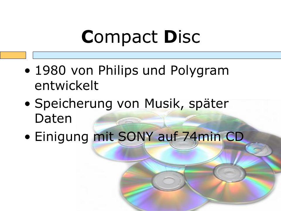 Compact Disc 1980 von Philips und Polygram entwickelt Speicherung von Musik, später Daten Einigung mit SONY auf 74min CD
