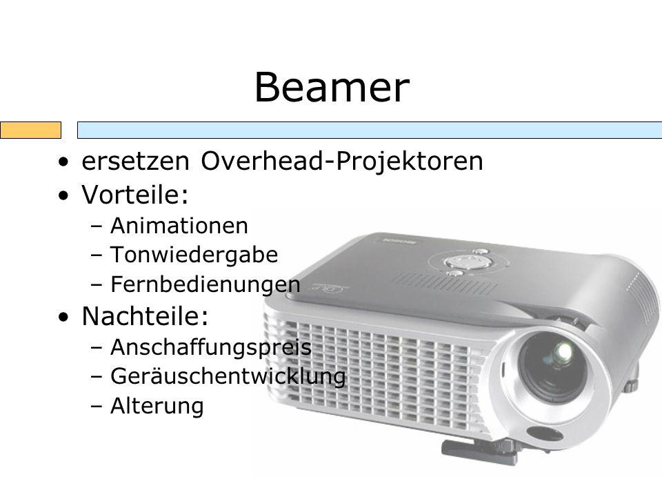 Beamer ersetzen Overhead-Projektoren Vorteile: –Animationen –Tonwiedergabe –Fernbedienungen Nachteile: –Anschaffungspreis –Geräuschentwicklung –Alteru